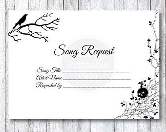 Autumn Leaves Wedding Song Request Card By SmatsPrintableCafe