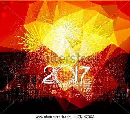 happy new year fireworks 2017 city night background design