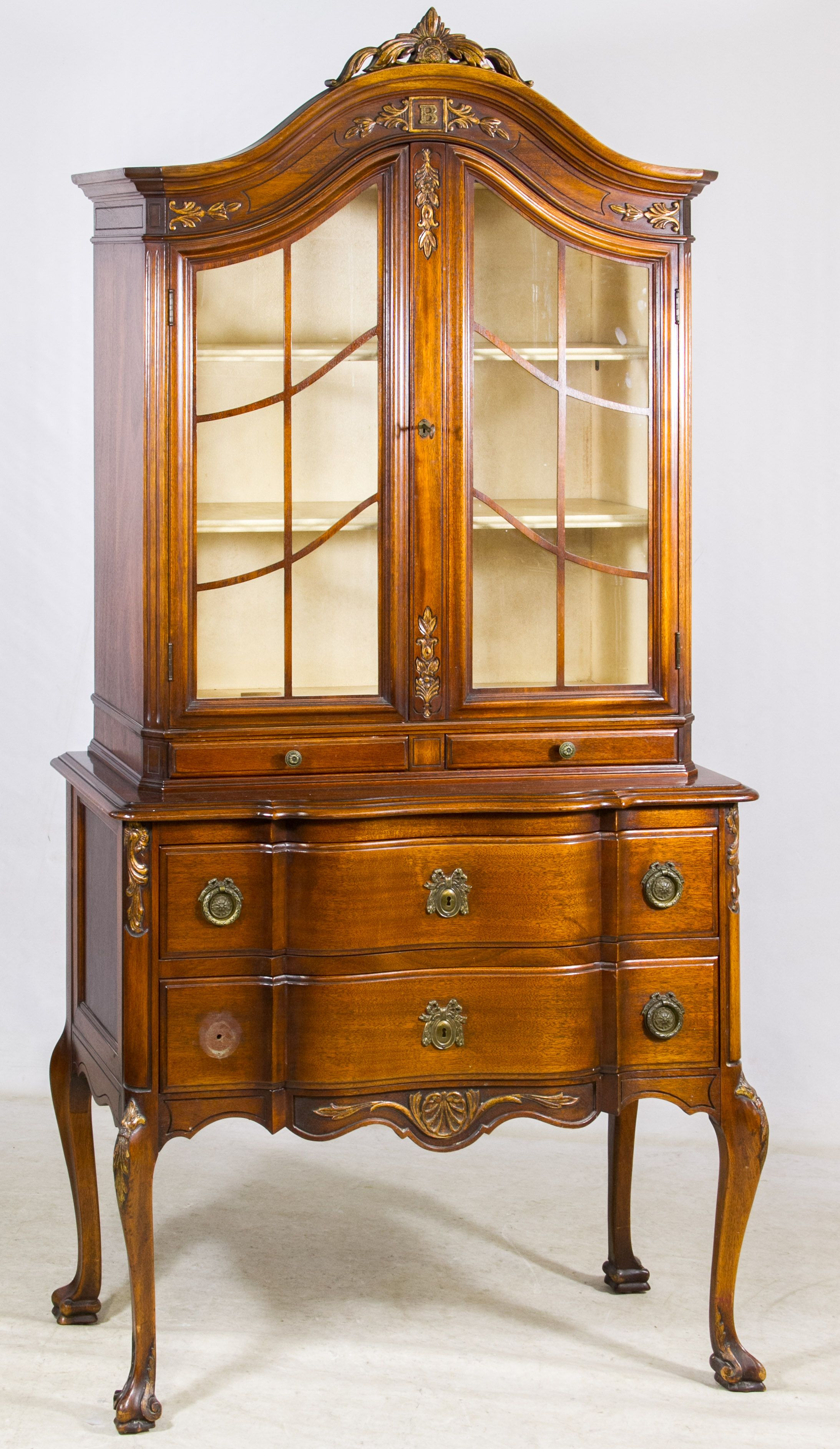 Lot Mahogany China Hutch By Landstrom Furniture Corp Having - Crest furniture