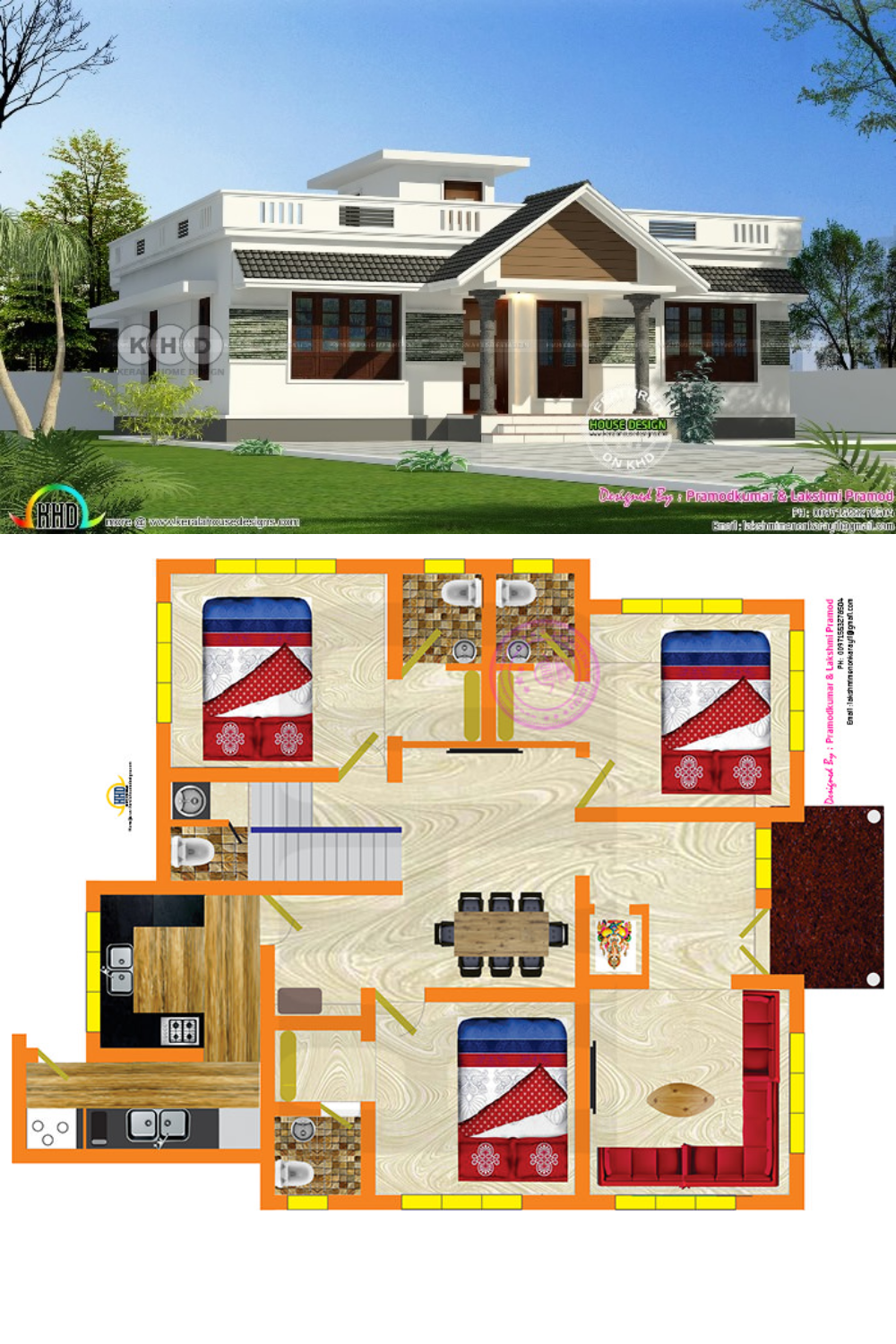 Stunning Three Bedroom Bungalow With Roof Deck My House Plans Model House Plan Bungalow With Roof Deck