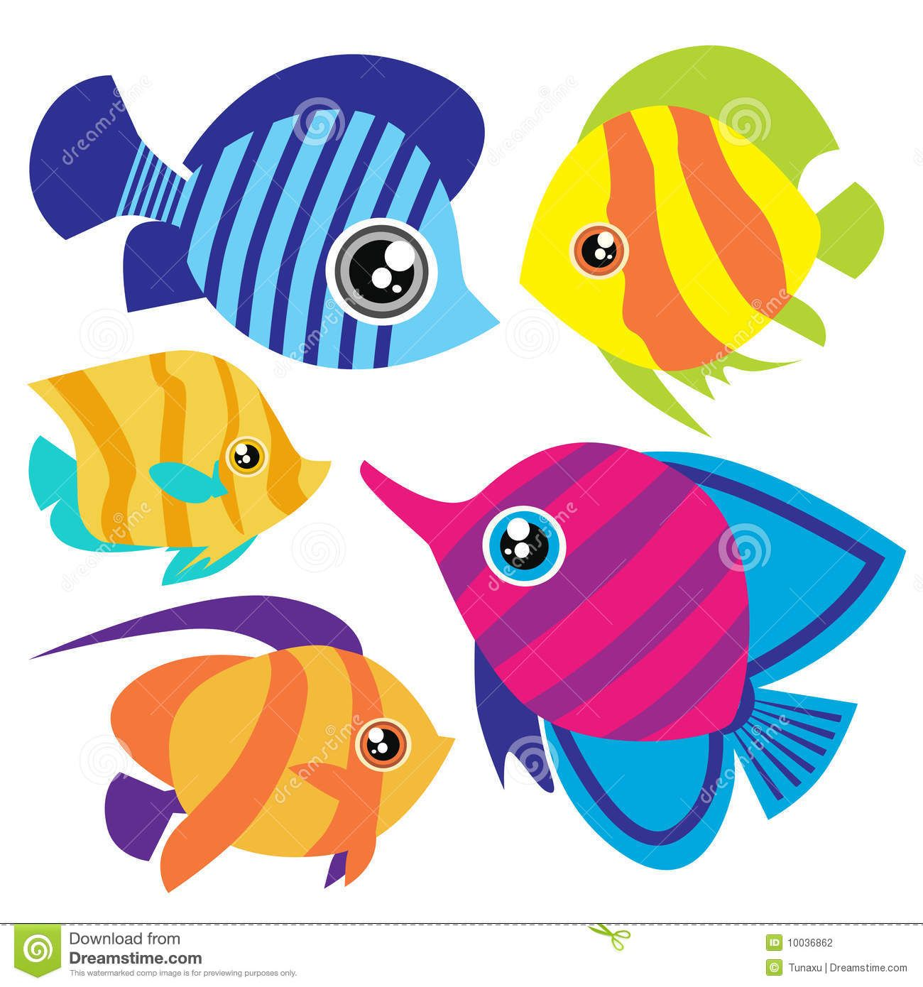 Cute cartoon tropical fish cartoon fish set stock photography image 10036862