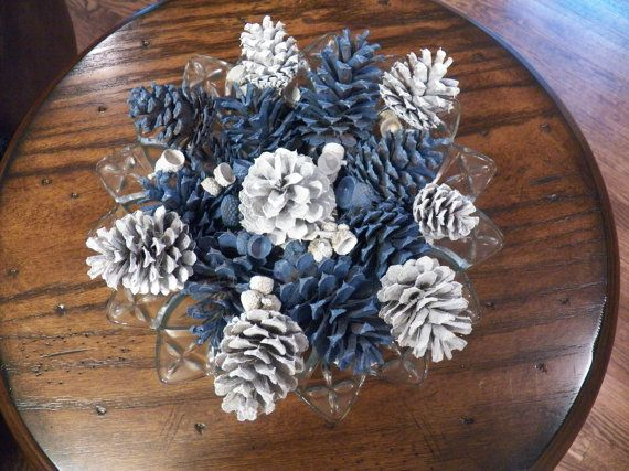 Periwinkle and White Painted Pine Cones by RusticMtnGirlCrafts, $7.00