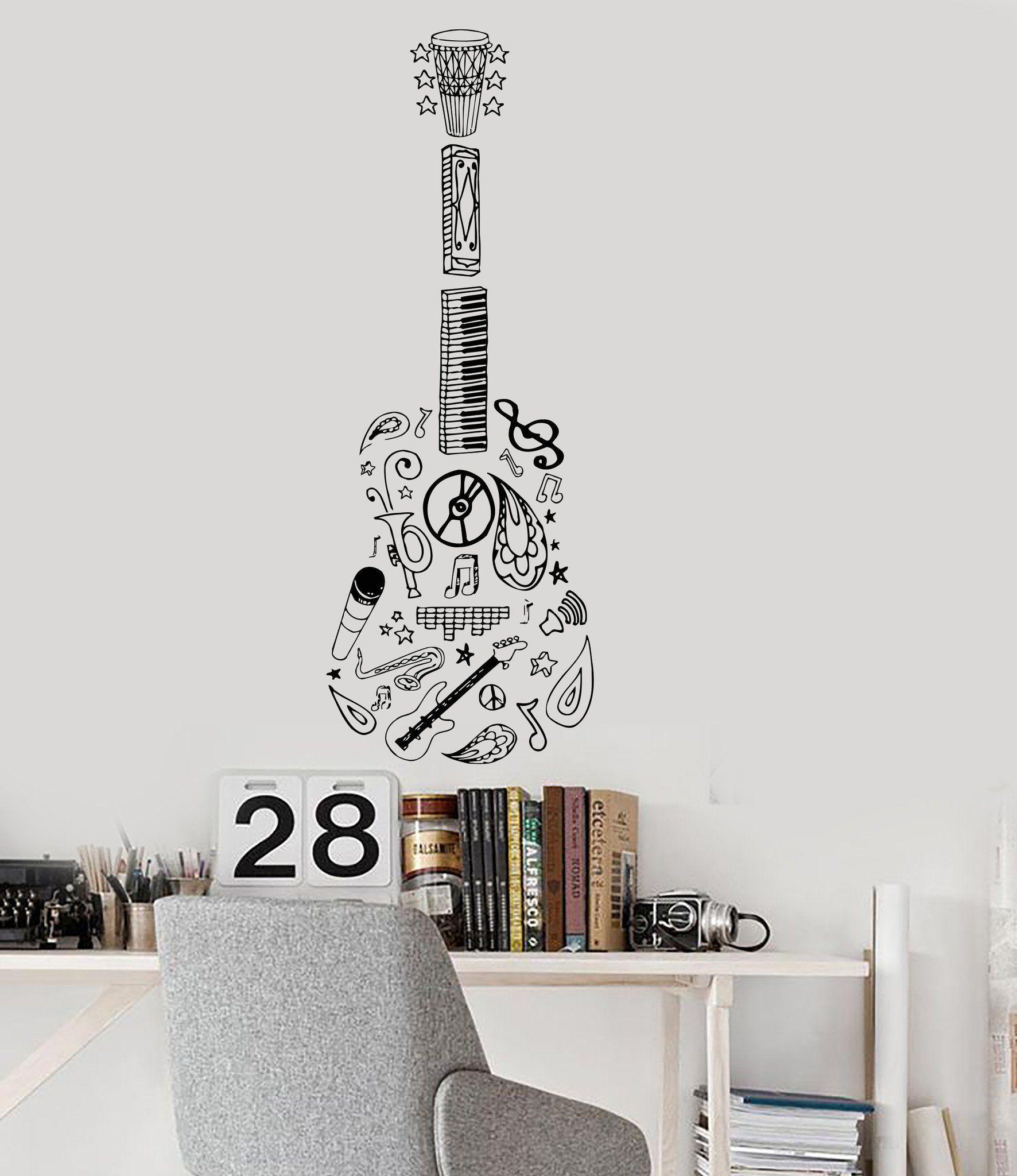 Autocollant Vinyle Guitare Musique Instrument de musique décoration Sketch autocollants muraux 034ig