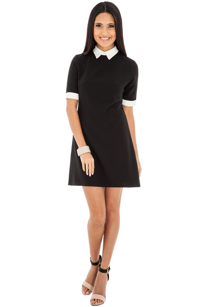 Black dress very - Black And White Collared Skater Dress 25 For A Very Chic And Smart Look