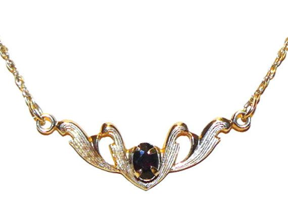 Dainty Gold Filled Necklace with Garnet by koolcatcollectibles