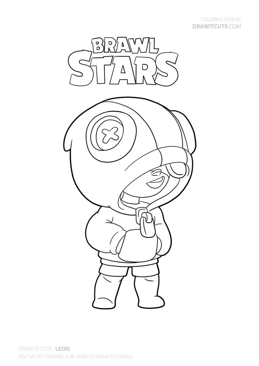 Leon Brawlstars Coloringpages Star Coloring Pages Drawing Tutorial Coloring Pages