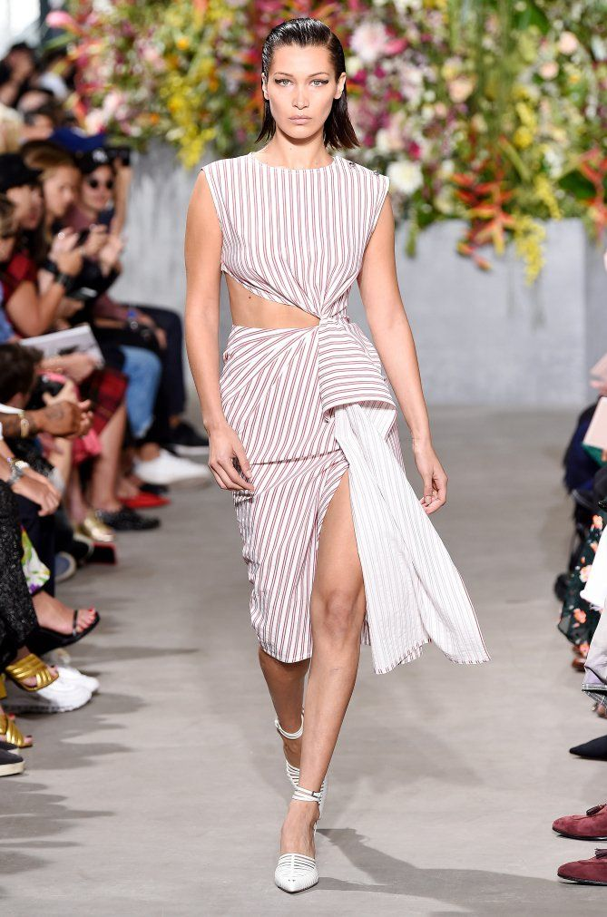 c431c30c037a Celebrities at Fashion Week: The Best Photos From NYFW Spring/Summer 2018 -  Bella Hadid in a cutout Jason Wu dress