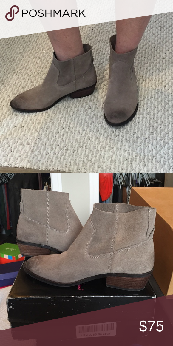 "Dolce Vita Cassidy Bootie in taupe Slip on ankle bootie. 1.75"" heel. Worn once, like new. ***Darker toes are just style of fabric for a worn/vintage look but they are NOT stains or dirt. No signs of wear except a little on sole because they were worn one time. Comes without box. Everything must go! Will consider all reasonable offers! Dolce Vita Shoes Ankle Boots & Booties"