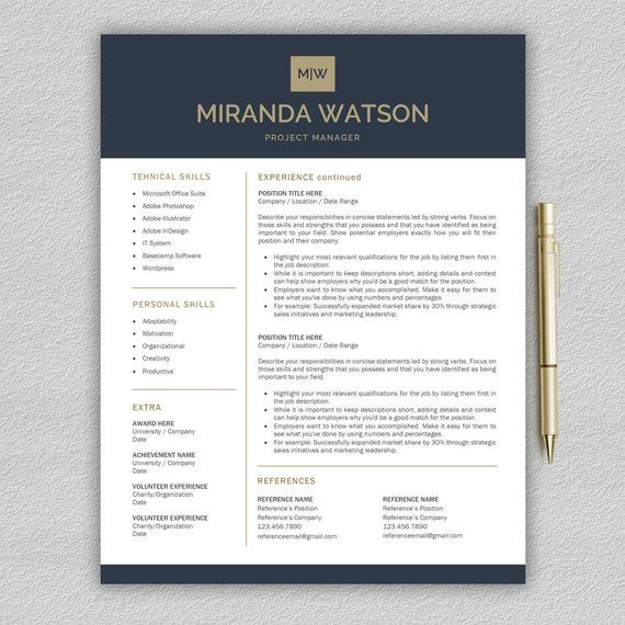 Professional Resume Template Resume Template For Word And Etsy Cv Template Resume Template Professional Resume Template