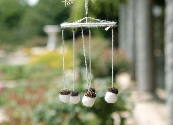 White acorns wind chime mobile weddings bridal by CityCrochet, $25.00
