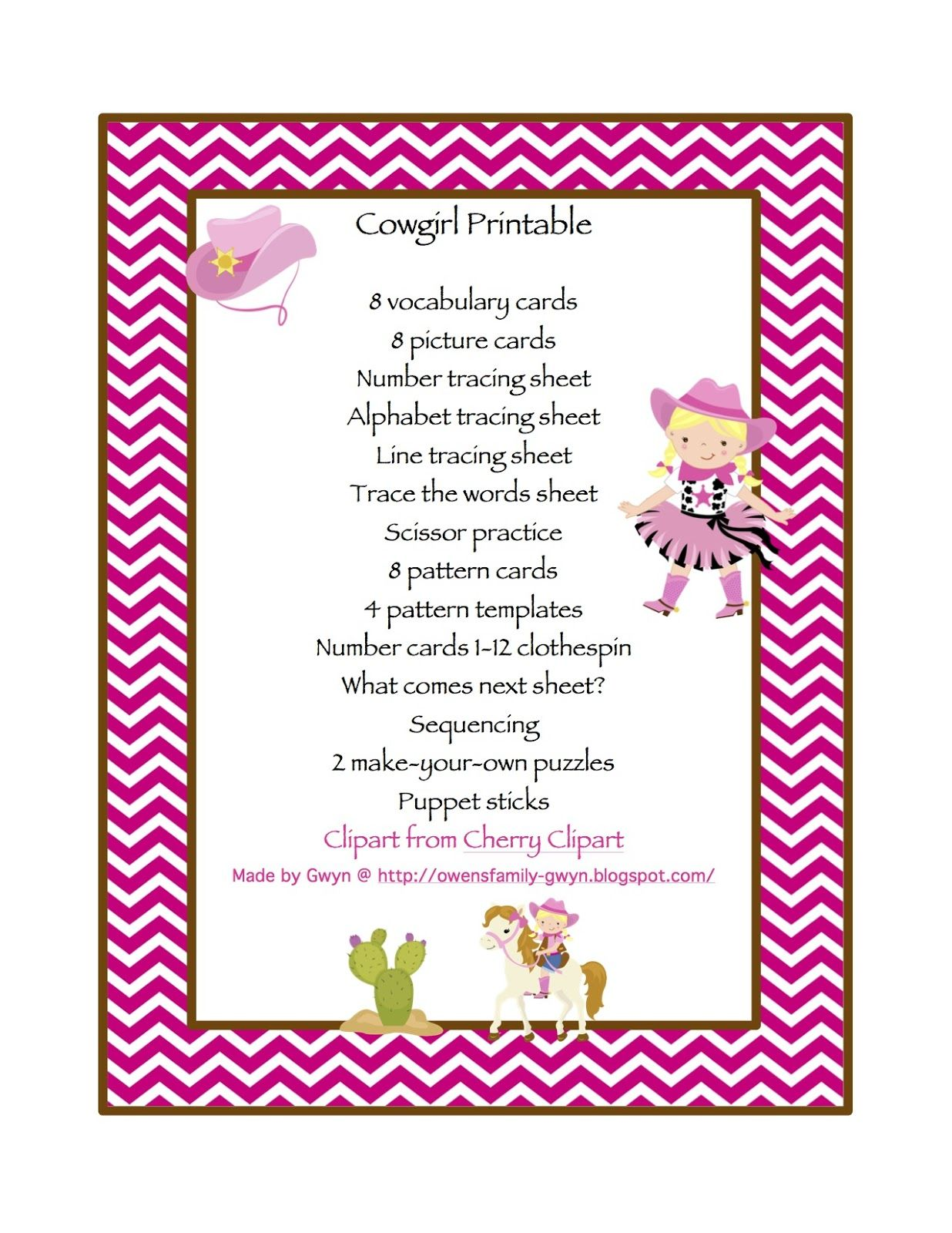 1 20 Preschool Printables Cowgirl Theme