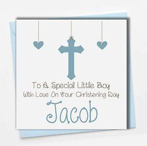 Grandson Godson Nephew Son Personalised Handmade Boys Christening Card