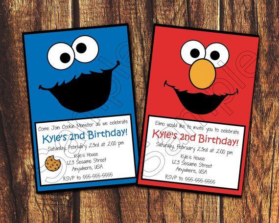 a55a0f23442d301f085457a984ceb453 elmo or cookie monster face printable birthday invitation (digital,Elmo Invitations Etsy