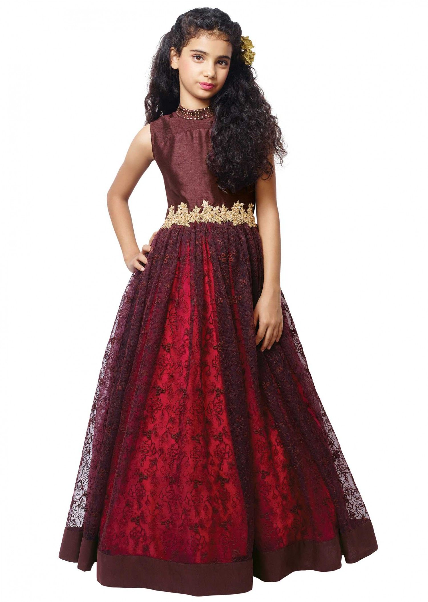 456dbff10961e Rasal Net + Hand Work Kids Wear Gown - More Details Contact No....  +919537510757.