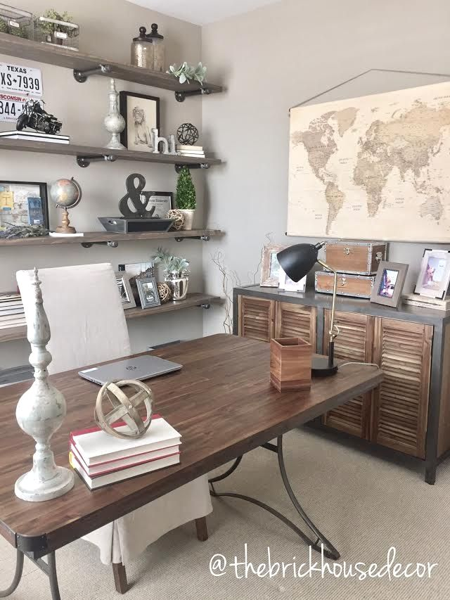 diy office space. 43 Tiny Office Space Ideas To Save And Work Efficiently | Diy Pipe Shelves, Industrial Farmhouse I