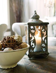 Decorating with lanterns.