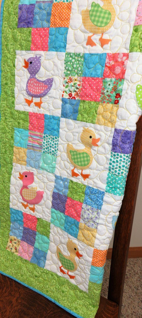 b89ad68adfc86 Handmade Baby Quilt for Sale, Large Baby Blanket, Ducks, Toddler ...