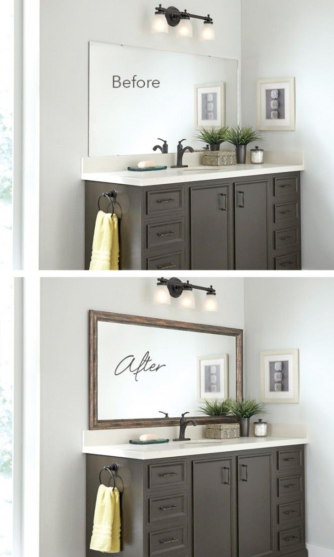 Blah Before, Beautiful After. Frame the bathroom mirror in minutes ...