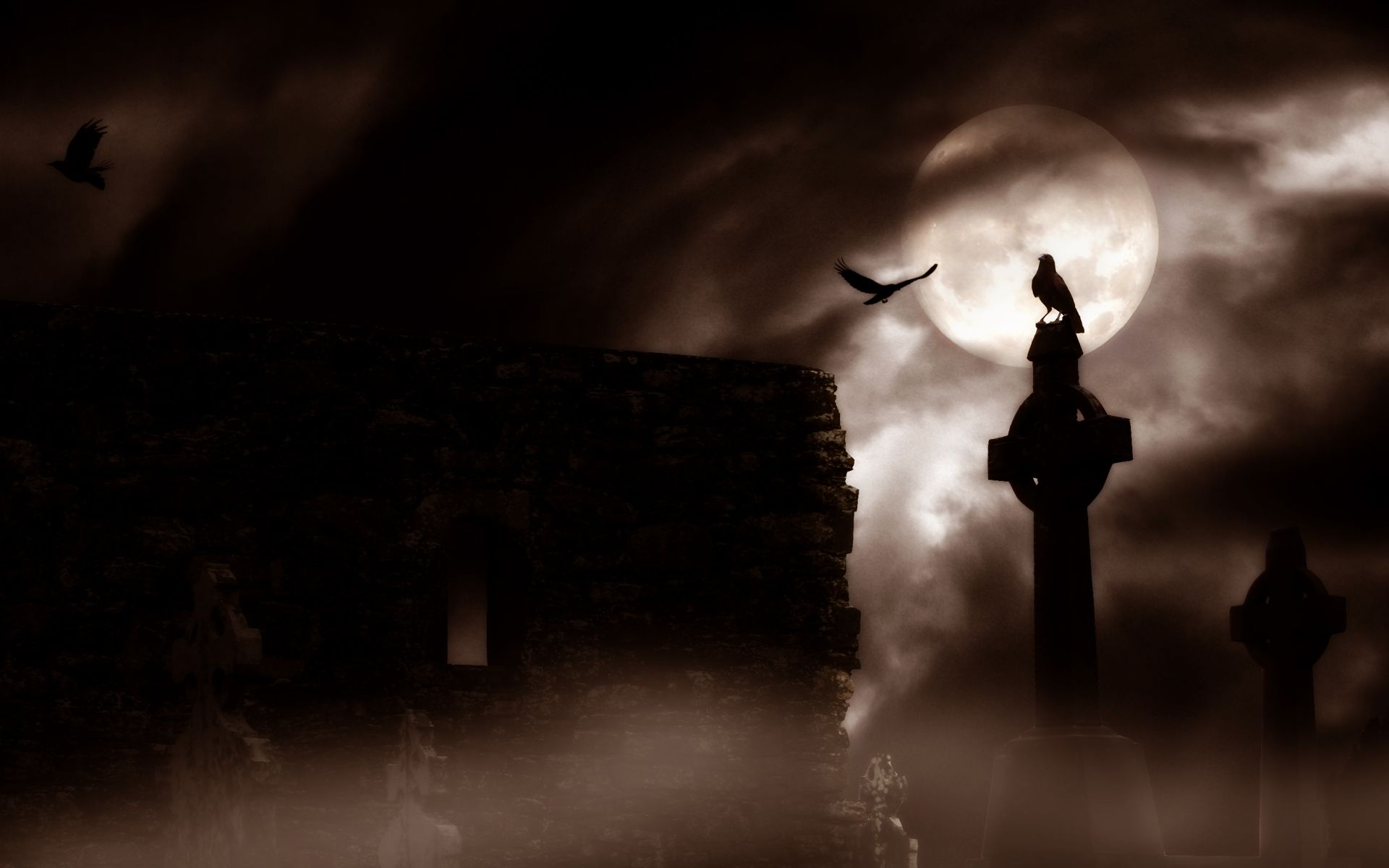 Dark Horror Gothic Raven Cemetery Graveyard Halloween Wallpaper