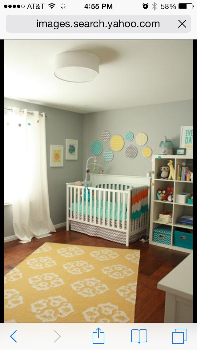 Gray Yellow And Turquoise Baby Nursery Neutral Baby Boy Nursery