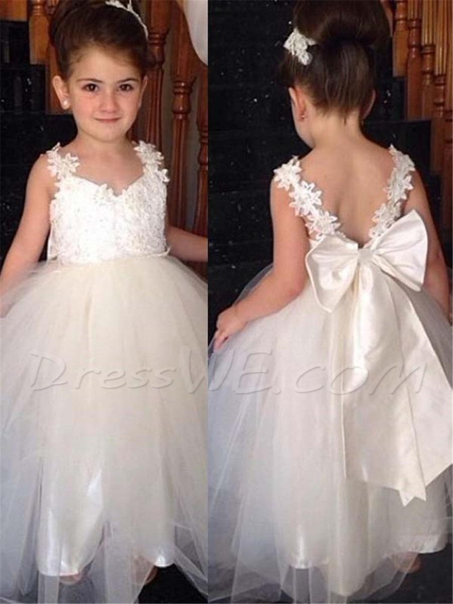Adorewe Dresswe Dresswe Straps Appliques Long Flower Girl Dress