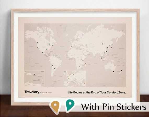travel world map with pin stickers by travelary on etsy. Black Bedroom Furniture Sets. Home Design Ideas