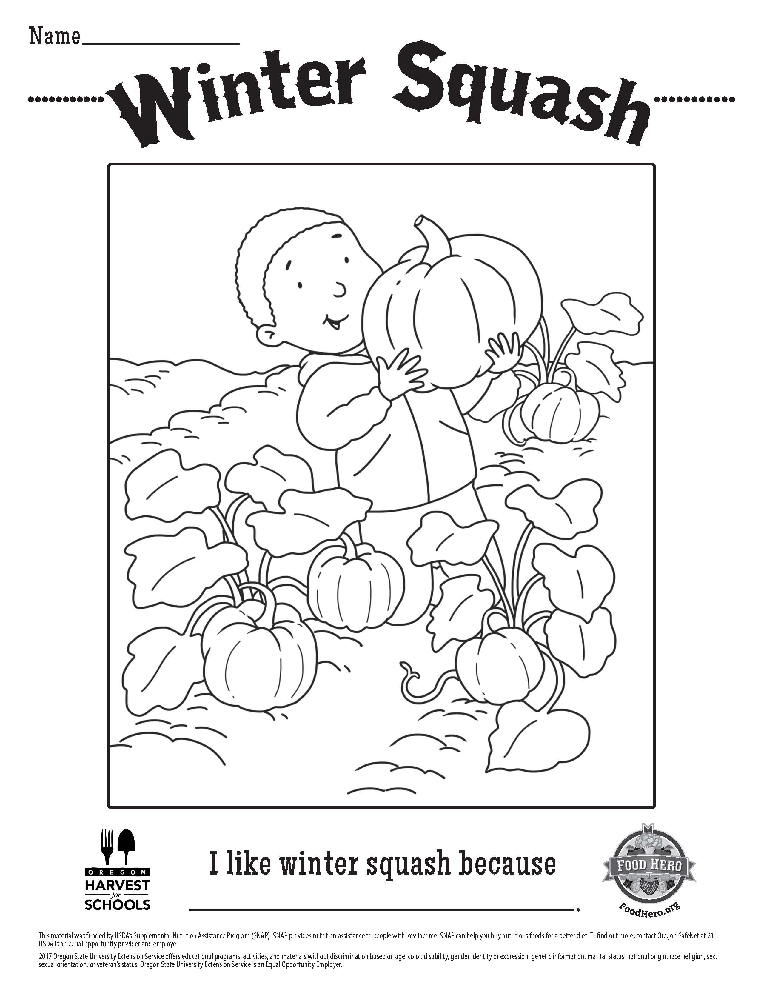 Food Hero Winter Squash Free Printable Children S