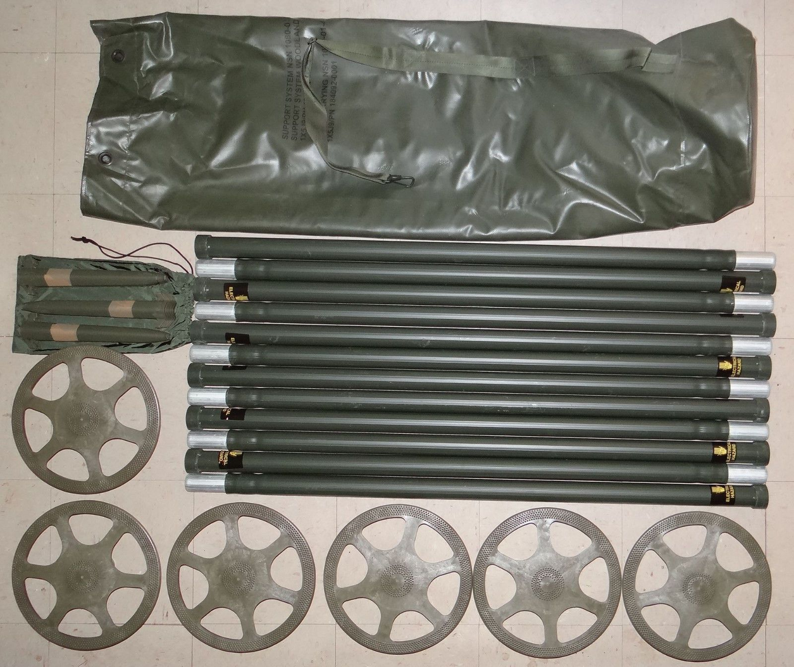Ham Amateur Radio Antennas: New Camouflage Support Antenna Stacking System 12 Aluminum Poles Bag 24 Stakes -> BUY IT NOW ONLY: $118 on eBay!