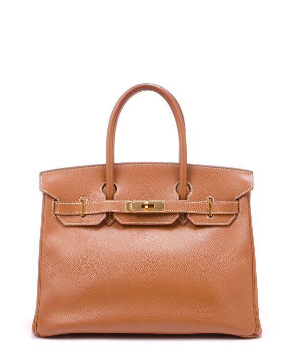 Hermes  gold courchevel leather 'Birkin 30' bag  11.7'' wide x 8.6'' tall x 6.2'' deep  Stained top handles with 4.7'' drop