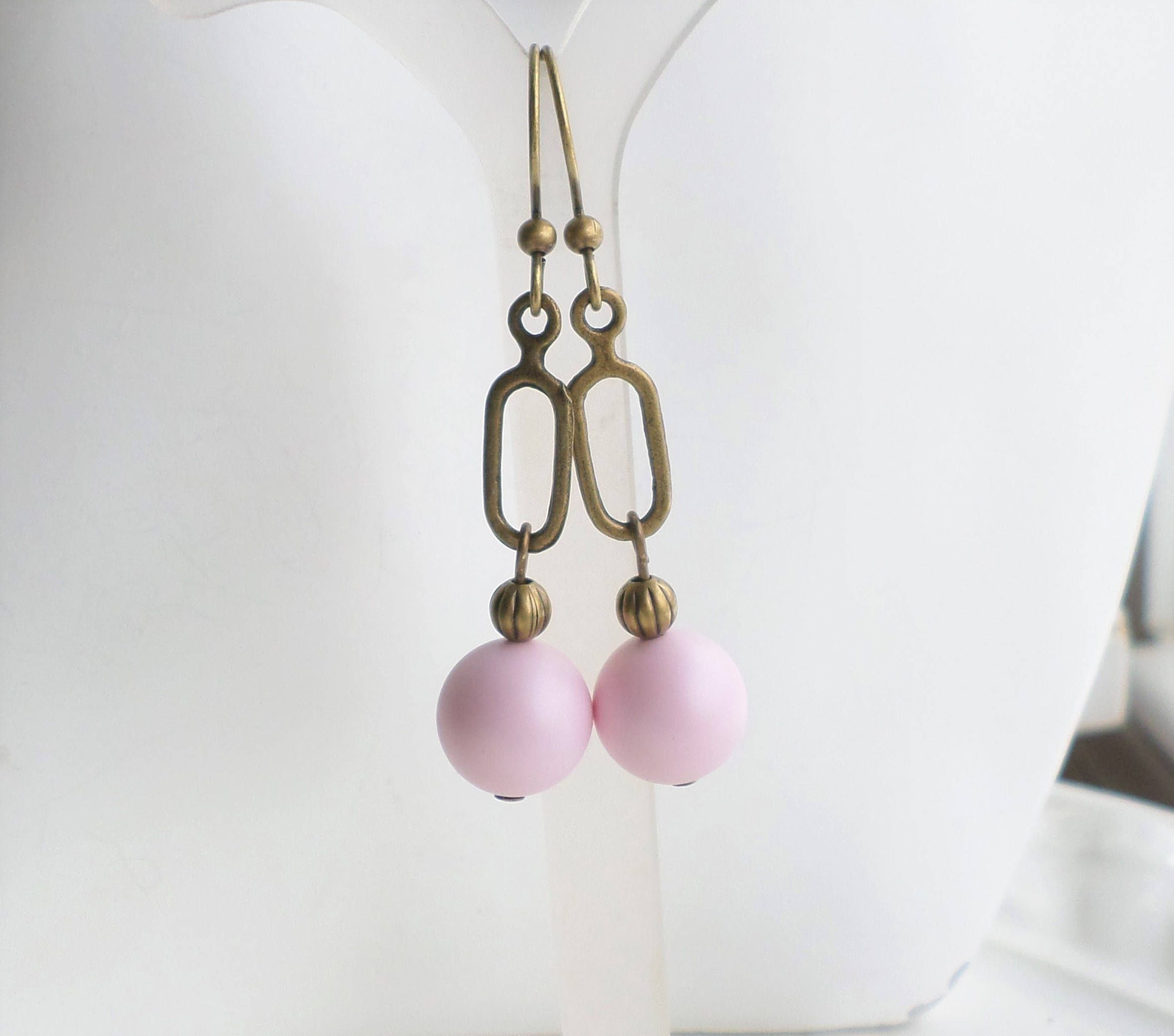 Pastel Pink Pearl Drop Dangle Earrings, Boho Brass Dangle Earrings ...
