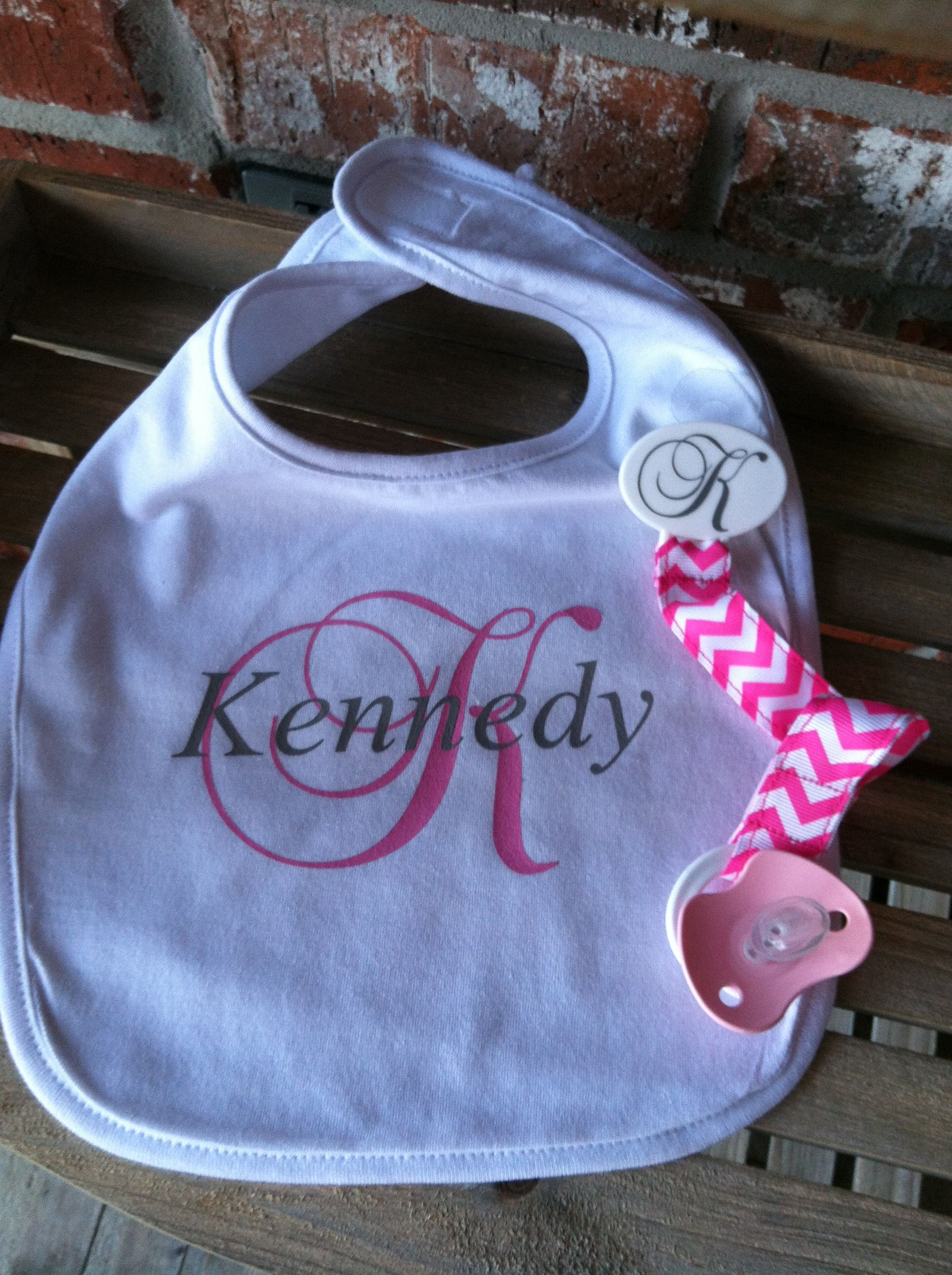Personalized Baby Bib and Pacifier Holder. www.facebook ...