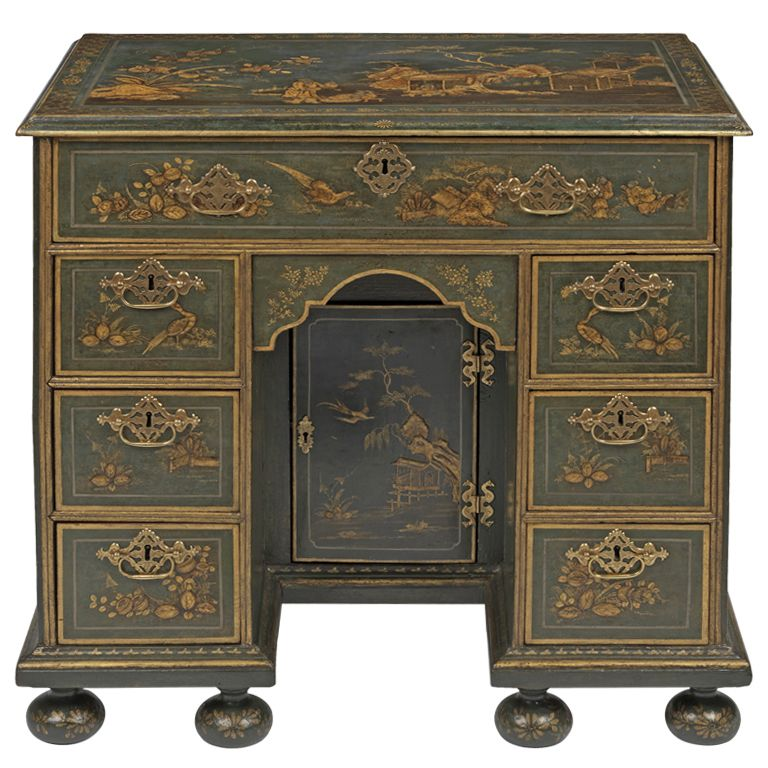 Muebles Japoneses Antiguos Queen Anne Japanned Kneehole Desk | Furniture & Antiques