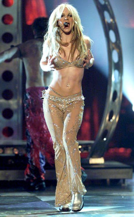 She did it again...nude, bedazzled catsuit at the MTV VMAs. Britney Spears