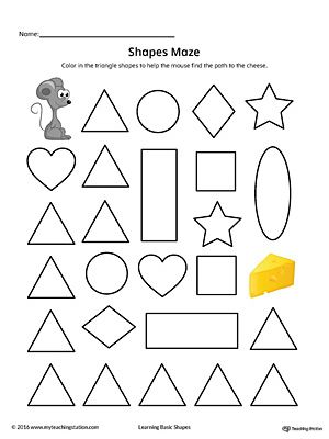 Triangle Shape Maze Printable Worksheet Color Letter I Crafts