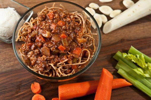 Spaghetti Bolognese: A healthier version of this classic Italian dish. Lean ground beef and pork delicately stewed in house-made tomato sauce with diced carrot, parsnip, celery, onion, and spices. | Factor 75 | Healthy Meals Delivered | Factor 75