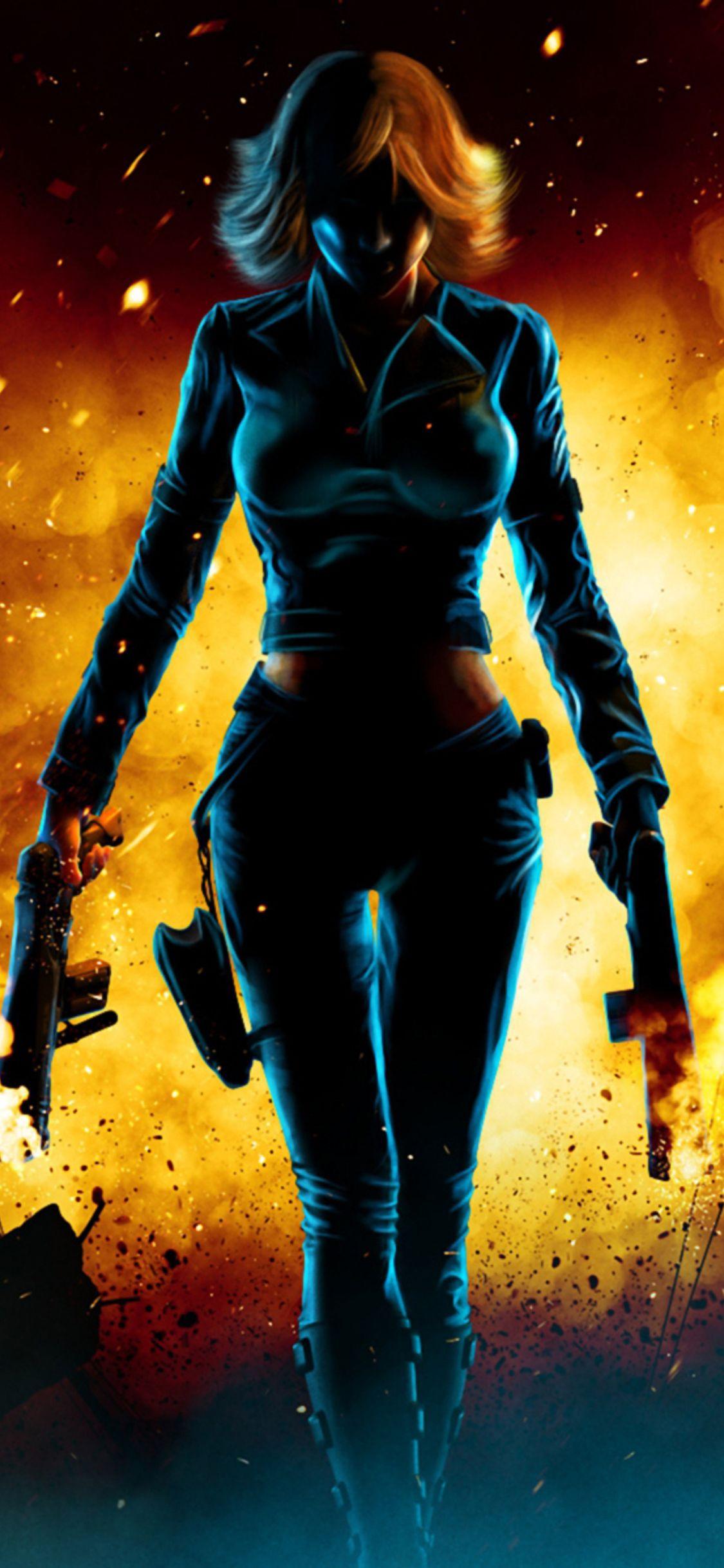 1125x2436 Black Widow Walking Through Fire Iphone XS