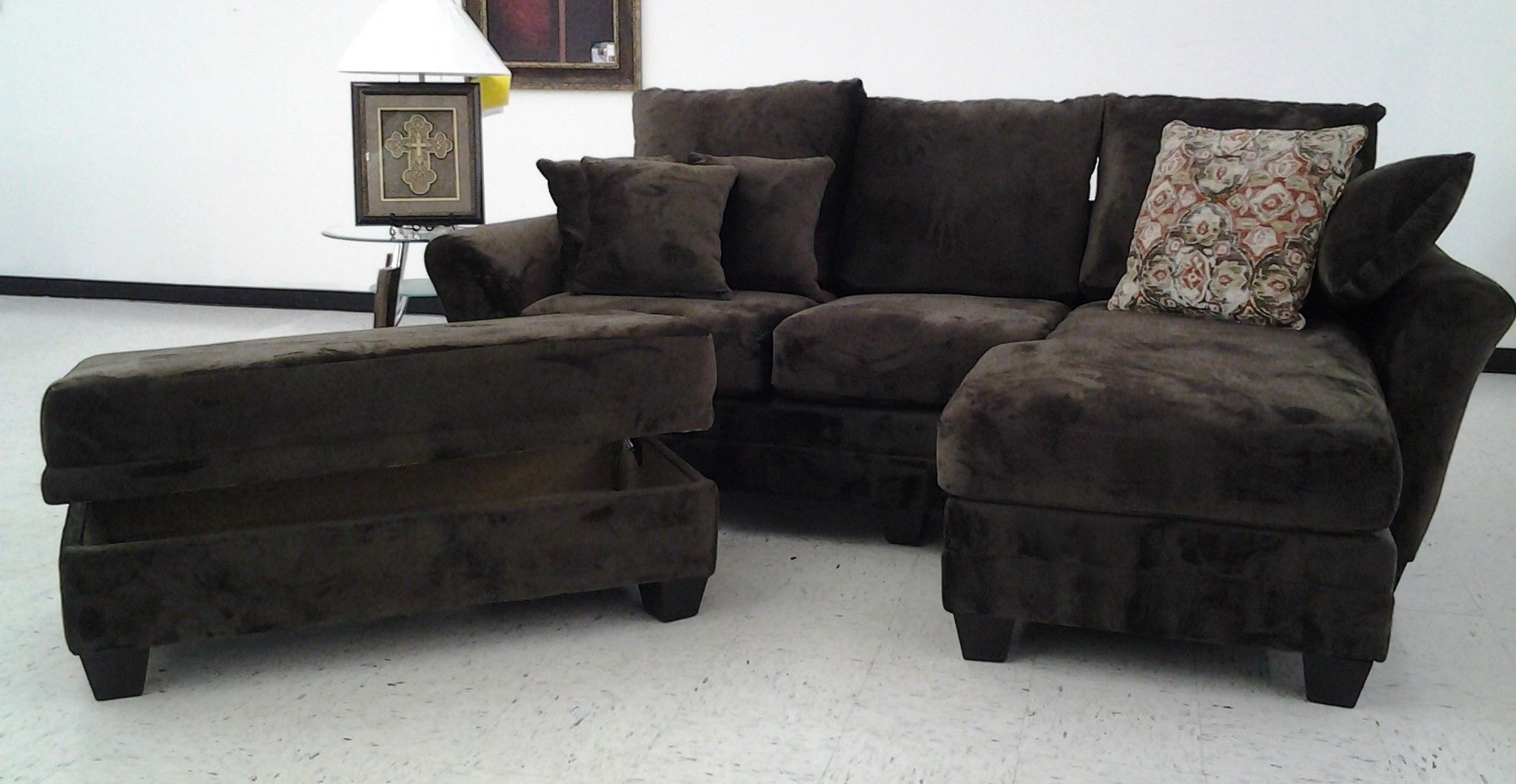 Brown Micro Suede Sofa Chaise Ottoman With Storage Sofas
