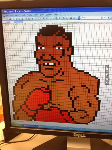 Slow day at work. No photoshop. Why not Excel Mike Tyson?