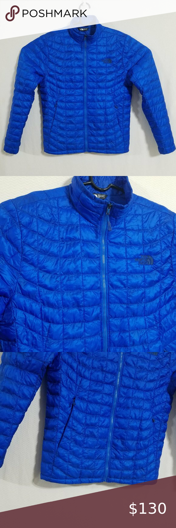 North Face Mens Small Blue Thermoball Jacket Coat North Face Mens Winter Puffer Coat North Face Coat [ 1740 x 580 Pixel ]