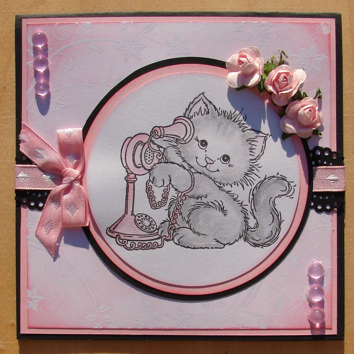 Carte Kirigami Joyeux Anniversaire Chat Rose Blanc Noir Cartes Par