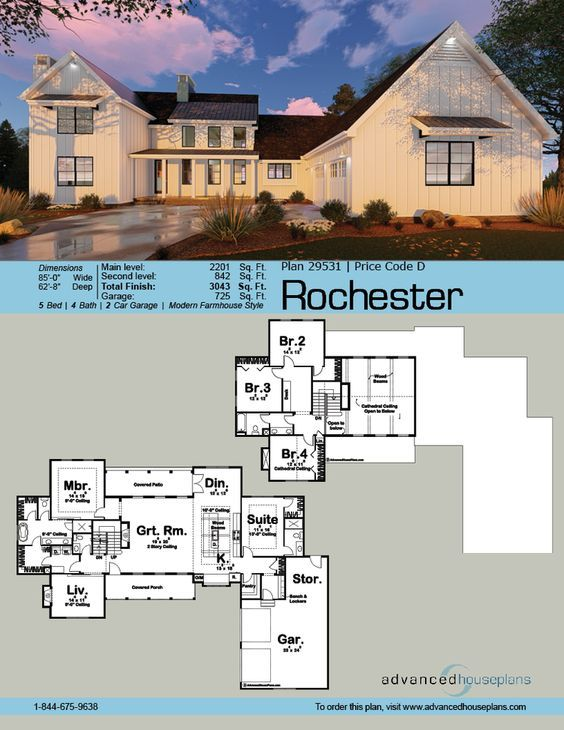 29531 rochester this l shaped 1 5 story modern farmhouse plan is highlighted