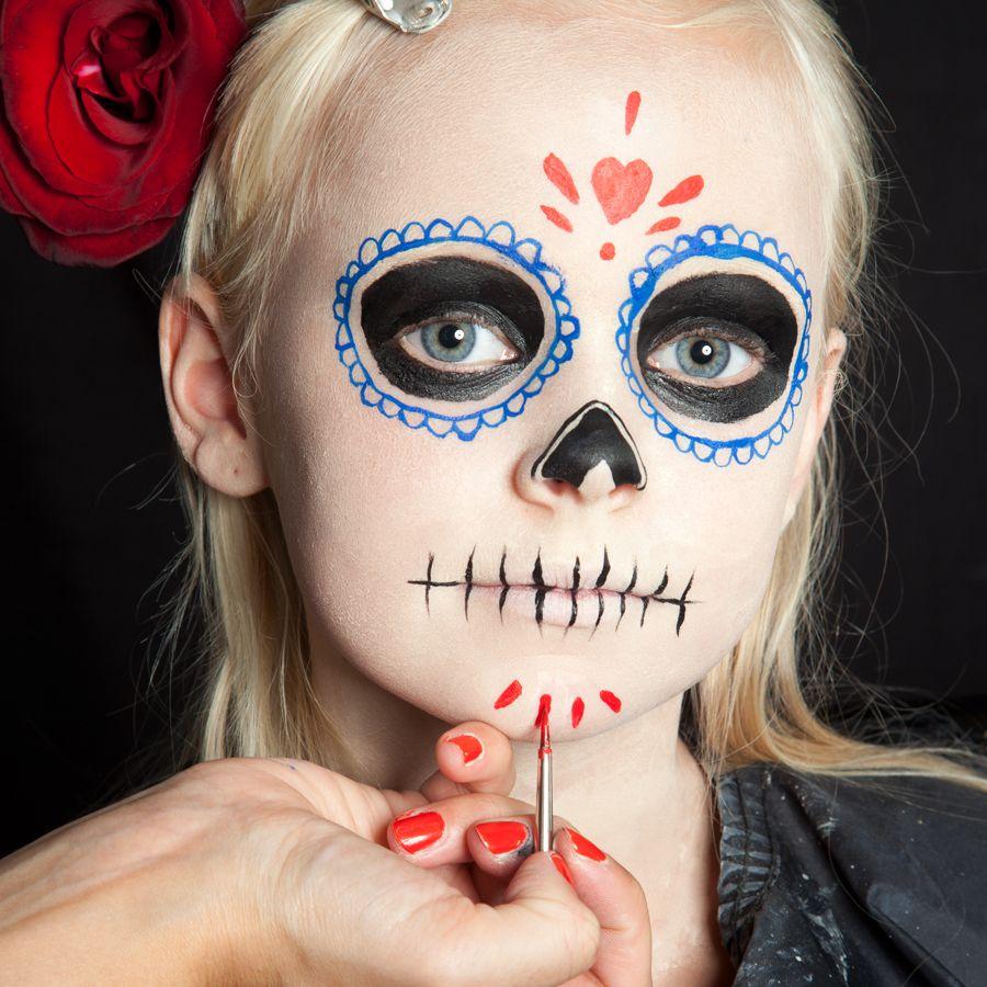 Halloween Kinder Schminken Dia De Los Muertos Make Up Halloween Schminken Kinder Halloween Schminktipps Halloween Kinder