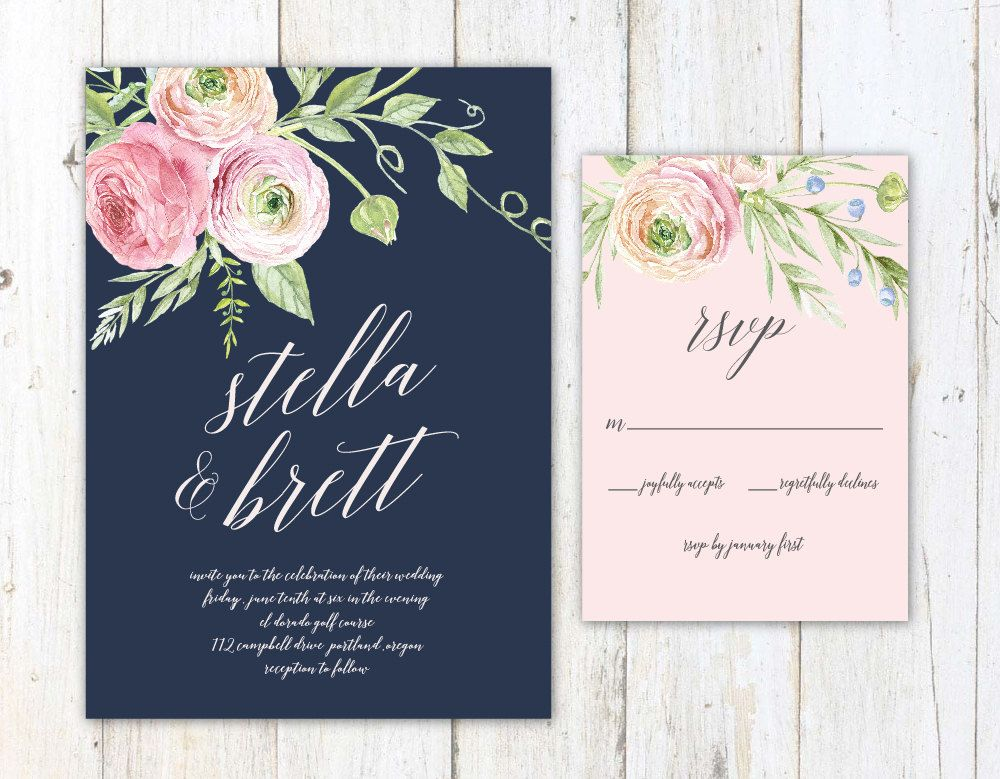 Navy Blush and Cream Wedding Invitation by
