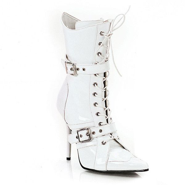 Pleaser Women's 'Milan-1022' Patent Double Buckle Lace-up Boots ($70) ❤ liked on Polyvore featuring shoes, boots, ankle boots, white, pointy boots, short lace up boots, pointy ankle boots, lace up bootie and pleaser boots