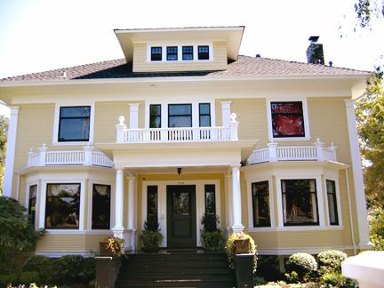 Houses With Bay Windows love the columns and bay windows!!! looks sooo cozy and its like 3