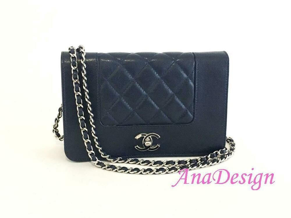 5a1ac2257b6dd0 Chanel Blue Calfskin WOC Wallet On Chain Crossbody Bag w/Authenticity Cert