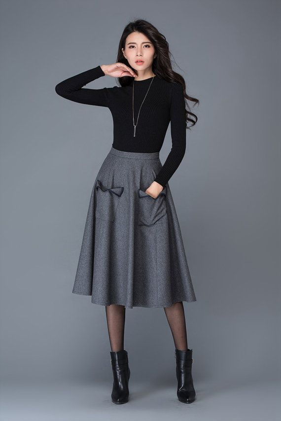 d7e9ed8ef dark grey wool skirt midi skirt pocket skirt winter by YL1dress | Ready To  Wear | Skirt outfits, Skirt fashion et Fashion