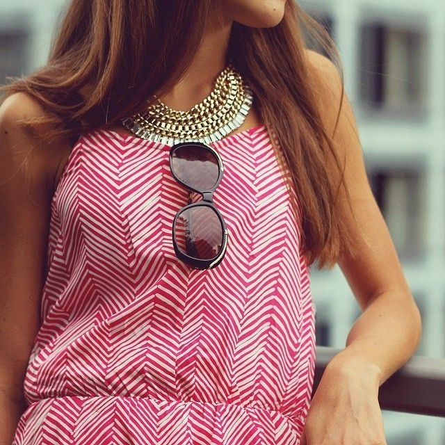 Minimalist Herringbone pattern dress sunglasses autumn gold necklace classy style chain preppy Idea - Review herringbone pattern Photos