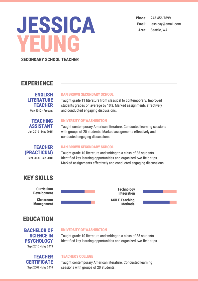 Formal Resume Design A Traditional Resume That Employers