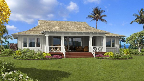 Deep shaded rear lanai would be a welcome place to spend for Hawaiian plantation home plans